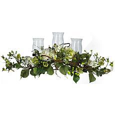 Nearly Natural Silk Hydrangea Triple Candleabrum Centerpiece