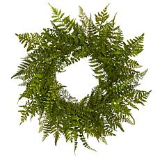 Nearly Natural Silk Mixed Fern Wreath - 24""