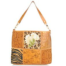 Needlepoint and Embossed Leather Patchwork Hobo - Limited Quantity