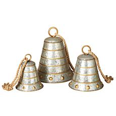 Nested Galvanized Metal Bells with Gold Accents and Twine Hanging R...