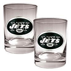 New York Jets 2pc Rocks Glass Set