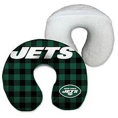 New York Jets Buffalo Check with Sherpa Memory Foam Travel Pillow