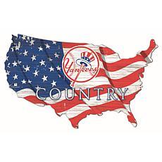 New York Yankees USA Shape Flag Cutout