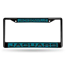 NFL Black Laser-Cut Chrome License Plate Frame -Jaguars
