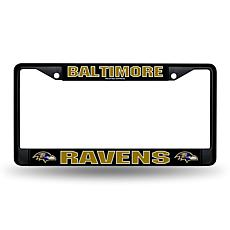 NFL Black Laser-Cut Chrome License Plate Frame -  Ravens