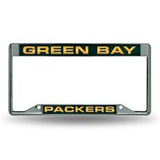 NFL Inverted Laser-Cut Chrome License Plate Frame - Packers