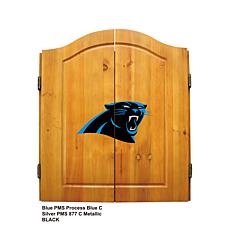 NFL Logo Solid Pine Dart Cabinet Set - Panthers