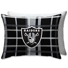 "NFL Plush Plaid Sherpa 20"" x 26"" Bed Pillow - Oakland Raiders"