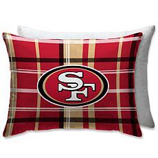 "NFL Plush Plaid Sherpa 20"" x 26"" Bed Pillow - San Francisco 49ers"