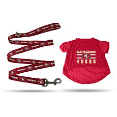 NFL Small Pet T-Shirt with 4' Leash - 49ers
