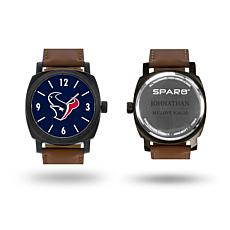 "NFL Sparo ""Knight"" Faux Leather Strap Personalized Watch - Texans"