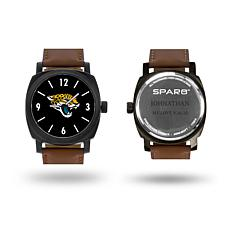 "NFL Sparo ""Knight"" Faux Leather Strap Personalized Watch - Jaguars"