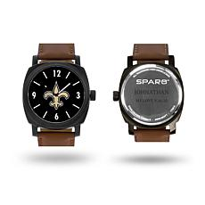 """NFL Sparo """"Knight"""" Faux Leather Strap Personalized Watch - Saints"""