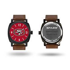 "NFL Sparo ""Knight"" Faux Leather Strap Personalized Watch - 49ers"