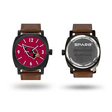 "NFL Sparo ""Knight"" Faux Leather Strap Personalized Watch - Cardinals"