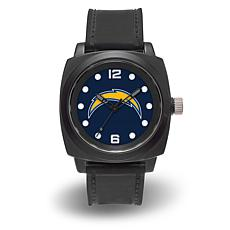 """NFL Sparo Team Logo """"Prompt"""" Black Strap Sports Watch - Chargers"""