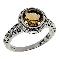 Nicky Butler 1.55ctw Citrine Round Solitaire Textured Ring