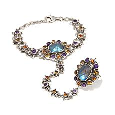 Nicky Butler 18.40ctw Labradorite and Gem Hand Chain