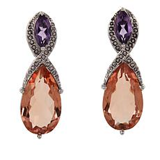 Nicky Butler 20.5ctw Sunset Quartz Triplet and Amethyst Earrings