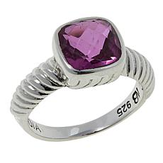 Nicky Butler 2.30ctw Pink Quartz Triplet Cushion Solitaire Ribbed Ring