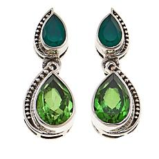 Nicky Butler 3.10ctw Peri Green Quartz Triplet and Gem Pear Earrings