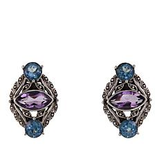 Nicky Butler 3.9ctw Amethyst and Blue Topaz Sterling Silver Earrings