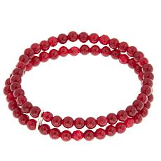 "Nicky Butler 4mm Gemstone Bead Double Row 6-3/4"" Stretch Bracelet"