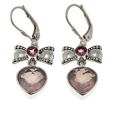 Nicky Butler 6.3ctw Rose Quartz and Gem Bow and Heart Drop Earrings