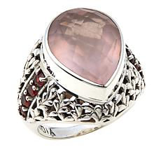 Nicky Butler 6.84ctw Rose Quartz and Garnet Bold Pear Ring