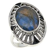 Nicky Butler 7.60ctw Faceted Labradorite Sterling Silver Enamel Ring