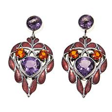 Nicky Butler Amethyst and Honey Topaz Heart Earrings