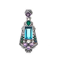 Nicky Butler Aqua Quartz Triplet and Gem Shield Pendant