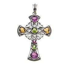 Nicky Butler Celtic Collection Pink Topaz and Multigem Cross Pendant