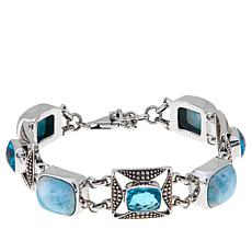 Nicky Butler Larimar and Aqua Quartz Triplet Bracelet
