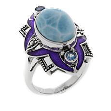 Nicky Butler Larimar and Sky Blue Topaz Sterling Silver Frame Ring