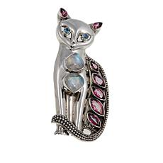 """Nicky Butler Moonstone and Topaz Sterling Silver """"Cat"""" Pin/Pendant"""