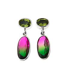 Nicky Butler Pink-Green Quartz and Peridot Earrings