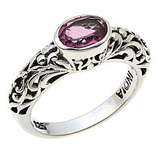 Nicky Butler Pink Topaz East/West Oval Sterling Silver Band Ring