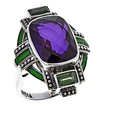 Nicky Butler Purple Quartz and Green Topaz Deco Ring