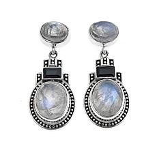 Nicky Butler Rainbow Moonstone and Black Onyx Drop Earrings