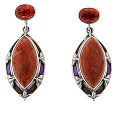 Nicky Butler Sponge Coral and Honey Quartz  Earrings
