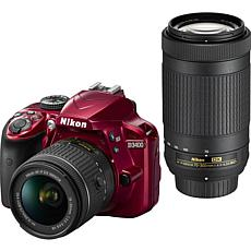 Nikon D3400 Digital Camera Dual Lens with 16GB Card
