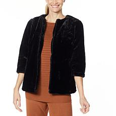 Nina Leonard 3/4-Sleeve Faux Fur Jacket