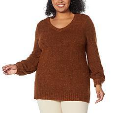 Nina Leonard Balloon Sleeves V-Neck Teddy Sweater Tunic