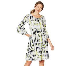 Nina Leonard Bell-Sleeve Printed Trapeze Dress