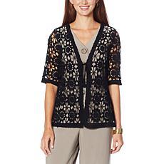 Nina Leonard Crochet Floral Tie-Front Bolero