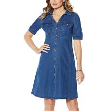 Nina Leonard Denim Button-Up Flare Dress