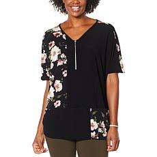 Nina Leonard Dolman Sleeve Zipper Front Tunic