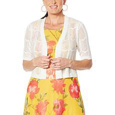 Nina Leonard Elbow-Sleeve Crochet Bolero