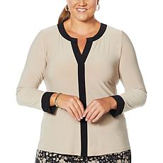 Nina Leonard Long Sleeve Colorblock Top